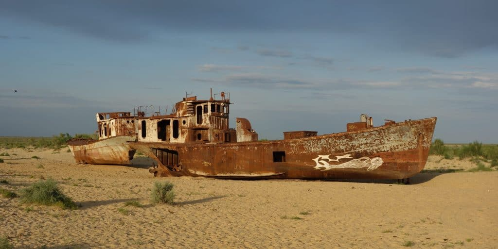 Ship at the bottom of the Aral Sea