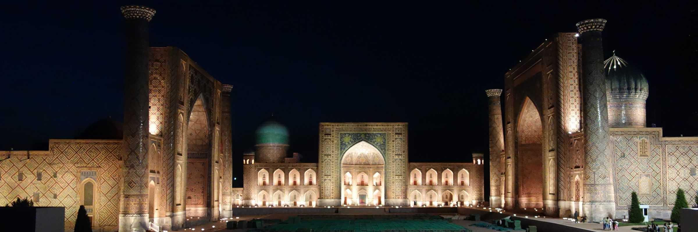 Samarkand Registan by night