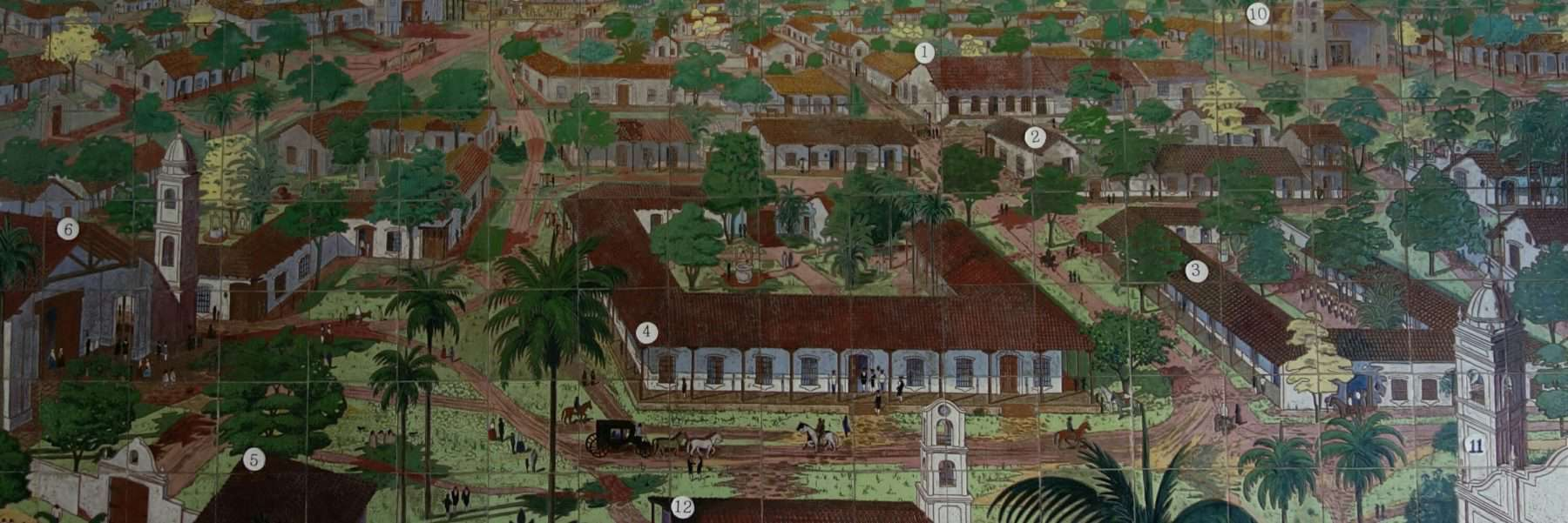 Tiles with painting of colonial Asuncion, Paraguay