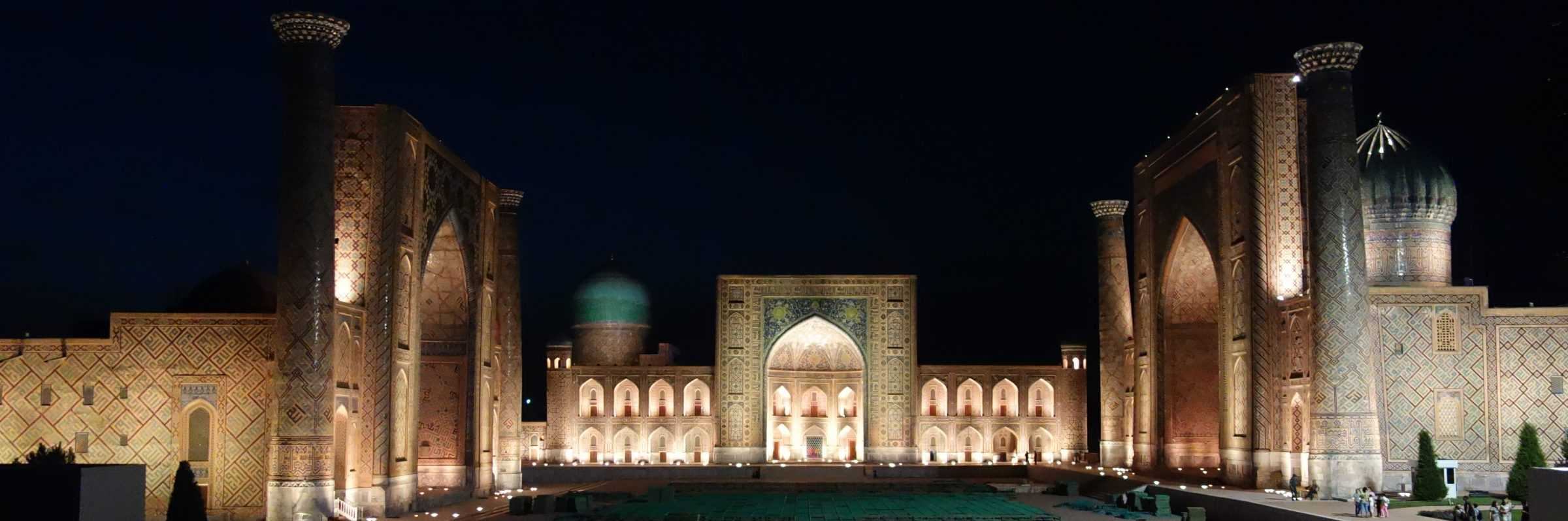 Samarkand Registan by night