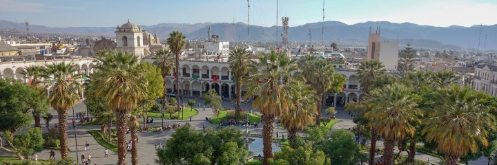 View over the main plaza, Arequipa, Peru