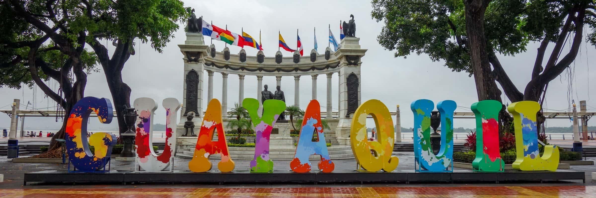 Guayaquil sign, Malecon, Ecuador